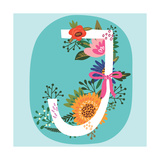 Vector Hand Drawn Floral Monogram with Vintage Amazing Flowers! Letters J Perfect for Backgrounds O