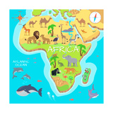 Africa Mainland Cartoon Map with Local Fauna Cute African Animals Flat Vector Savannah Predator