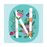 Vector Hand Drawn Floral Monogram with Vintage Amazing Flowers! Letters N Perfect for Backgrounds O