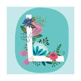 Vector Hand Drawn Floral Monogram with Vintage Amazing Flowers! Letters L Perfect for Backgrounds O