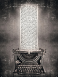 Surreal Imagine in Black and White of a Beautiful Classic Old Fashioned Typewriter with a Very Long