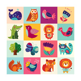 Perfect Vector Set of Illustration in Cartoon Naive Style with Funny Animals and Birds Lovely Cute