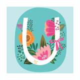 Vector Hand Drawn Floral Monogram with Vintage Amazing Flowers! Letters U Perfect for Backgrounds O