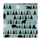 Forest Seamless Pattern Wildlife Grizzly Bear Abstract Hand Drawn Background