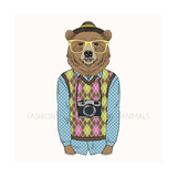 Fashion Illustration of Bear Hipster with Camera