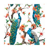 Watercolor Pattern Peacock on a Tree Cherry  Flowering Trees