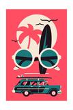 Vector Modern Flat Wall Art Poster Design on Hot Summer Vacation  Beach Recreation  Water Activitie