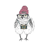 Cute Owl Boy Hipster with Photo Camera  Hand Drawn Graphic  Animal Illustration