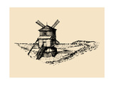 Hand Drawn Sketch of Rustic Windmill at Seashore Vector Rural Landscape Illustration European Cou