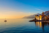 Mediterranean Sea at Sunrise  Small Old Town and Yacht - Europe  Italy  Camogli