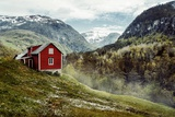 Wooden Cottage in the Valley Flowers Stone Snowy Mountains Stalheim  Norway Fog Vintage