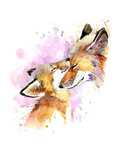 Fox and Baby Watercolor Illustration Motherhood Background