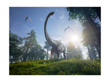 Diplodocus Browsing a Selection of Trees with Two Pteranodons Flying Overhead