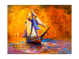 Original Oil Painting on Canvas-Sail Boat-Modern Impressionism by Nikolov