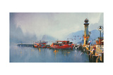 Fishing Boat in Harbor at Morning Watercolor Painting Style