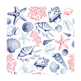 Seamless Pattern with Seashells  Corals and Starfishes Marine Background Vector Illustration in S