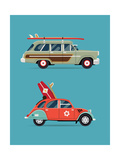 Vector Trendy Flat Design Recreational Vehicle Icons on Surf Travel with Old Classic Vintage Europe