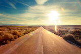 Road through Landscape Road and Car Travel Scenic and SunsetRoad Travel ConceptCar Travel Advent
