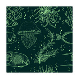 Seamless Pattern with Tropical Fish  Jellyfish  Marine Plants and Seaweed Vintage Hand Drawn Vecto