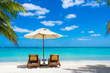 Turquoise Sea  Deckchairs  White Sand and Palms  Sun  Very Beautiful Nature