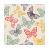 Butterflies Seamless Pattern in Doodle Style Butterfly Vector Illustration for Vintage Design