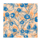 Drawn Hand Blueberry Twigs with Berries Blueberries and Leaves Pattern Vector