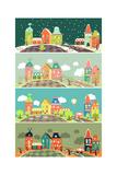 Urban Landscape of Four Seasons Vector Illustration