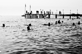 Silhouettes of Having a Rest People it is Black a White Photo of a Sea Pier and Having a Rest Peop