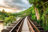 Railroad Wood History World War II in River Kwai at Evening Sunset  Kanchanaburi  Thailand