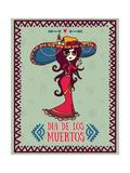 Cute Card for Dia De Los Muertos  Doodle Sugar Scull Girl  Vector Illustration