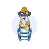 Schnauzer Dog Sailor  Nautical Poster  Furry Art  Hand Drawn Illustration