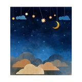 Night Sky Cloud  Moon and Star - Paper Cut Water Color on Grunge Paper Texture Background