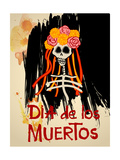 Dia De Los Muertos (Day of the Dead) Background with Skull and Flowers Catrina Calavera with Yello