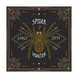 Stylish Thin Line Spider Label Vintage Design Vector Illustration  Logo  Badge  Emblem  Insignia