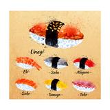 Sushi Watercolor Set Hand Drawn with Stains and Smudges Unagi  Sabe  Maguro  Sake  Tamago  Tako in