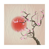 Bough of a Cherry Blossom Tree against Red Sun Crumpled Paper Vintage Effect Eps10 Vector Format