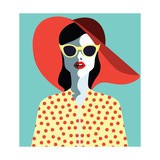 Beautiful Young Woman with Sunglasses and Hat  Retro Style Pop Art Summer Holiday Vector Eps10 I