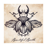Beautiful Hand Drawn Antique Stag Beetle The Largest Insect Vintage Style Tattoo Vector Art Engra