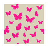 Pink Butterfly on Beige Background Seamless Pattern Vector