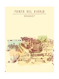 Punta Del Diablo  Famous Fishing Village  Uruguay Travel Postcard in Retro Style with an Artistic