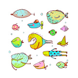 Cartoon Fun Humorous Fish Drawing Collection Funny Cartoon Brightly Colored Fish Drawing Set Penc