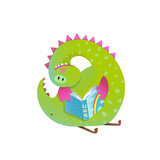 Baby Dragon Reading Book Study Cute Cartoon Monster for Children  Funny Happy Dinosaur Drawing Ve
