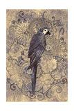 Parrot Line Art with Monochrome Pattern on Floral Design Element Illustration