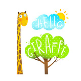 Fun Cartoon African Giraffe Animal with Lettering Hello Fun Cartoon African Giraffe Animal with Tr