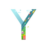 Kids Letter Y Sign Cartoon Alphabet with Cars and Houses for Children Boys and Girls with City  Ho