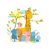 Cartoon Zoo Friends Animals Group Funny Zoo and Farm Animals Sitting Together under the Tree Vect