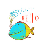 Cartoon Funny Fish Greeting Card Design Hand Drawn Fun Cartoon Hand Drawn Colorful Fish with Bubbl