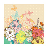 Vector Floral Illustration of Colorful Summer Flowers and Butterflies