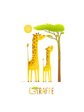 Fun Cartoon African Giraffe Animals Eating Foliage Brightly Colored Giraffe Child and Mom Raster