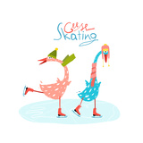 Colorful Fun Cartoon Ice Skating Geese for Kids Countryside Amusing Skating Baby Animal Illustrati